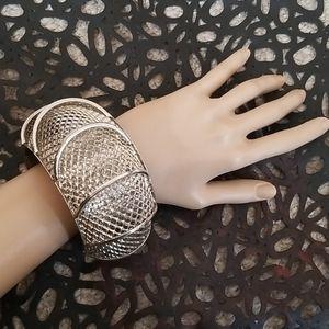 Oversized Silver Mesh Bangle Bracelet